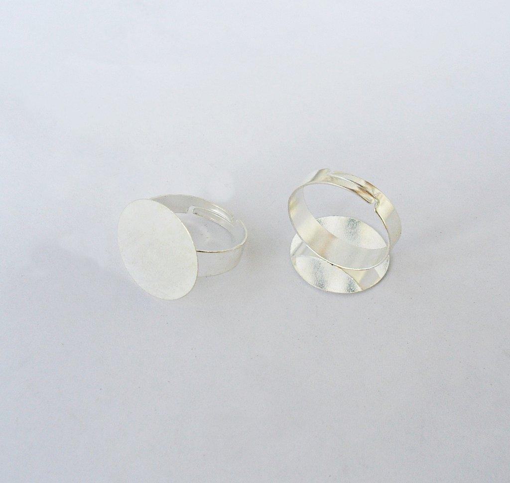 Base anello regolabile con piatrina tonda, color argento 2PZ