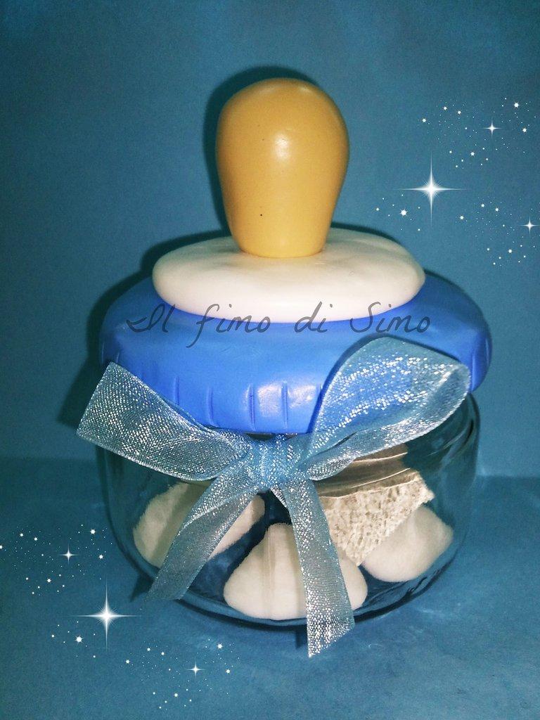 bomboniera vasetto in vetro con coperchio a ciuccio in fimo