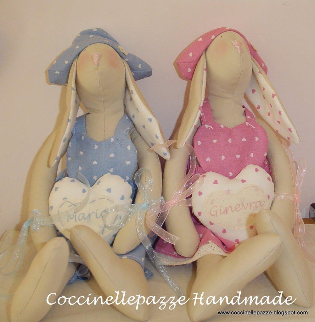 CONIGLIO TILDA SHABBY CHIC in lino idea regalo nascita battesimo. coniglietto personalizzazioni a richiesta.