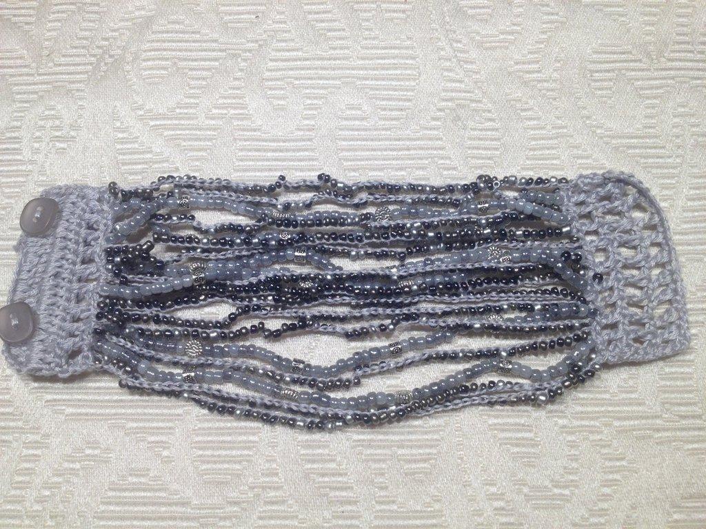 """Bracciale crochet e perline """"Silver"""""""