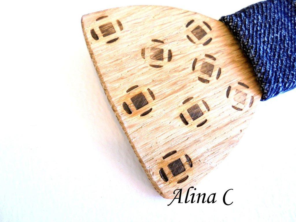Papillon fiocco bowtie in legno fatto a mano con fascetta jeans