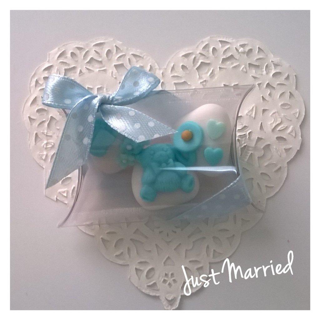 Confettata battesimo, confetti decorati, azzurro