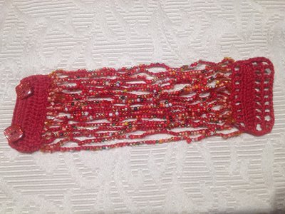 "Bracciale crochet e perline ""Moulin Rouge"