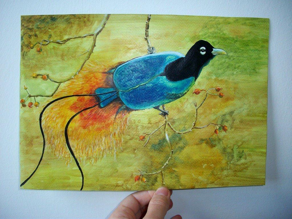 Uccelli del paradiso, acquerello su carta preparata con lo sfondo acrilico, dipinto originale