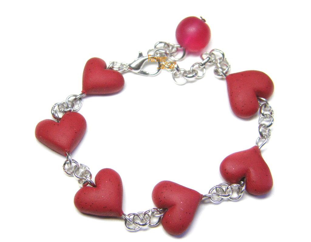 Braccialetto con cuori rosso in fimo idea regalo san valentino ragazza donna
