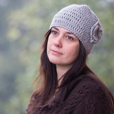 Cappello cloche lana alpaca grigio