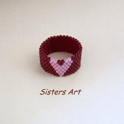 """Anello """"Cuore rosa"""" a fascia realizzato con perline Miyuki delica"""