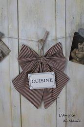 """Fiocco con targa in legno  """"cuisine"""""""