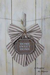 """Fiocco con targa """"Home sweet home"""""""