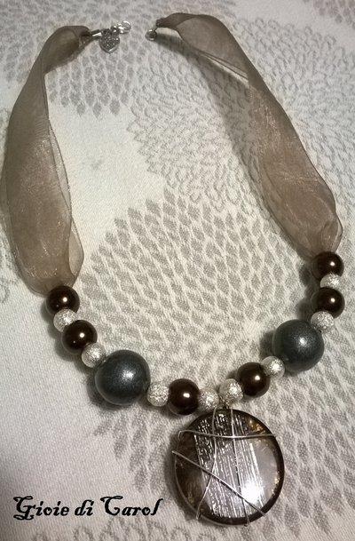 Collana Elegance grigio e marrone