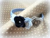Cerchietto con rose realizzato e decorato a mano