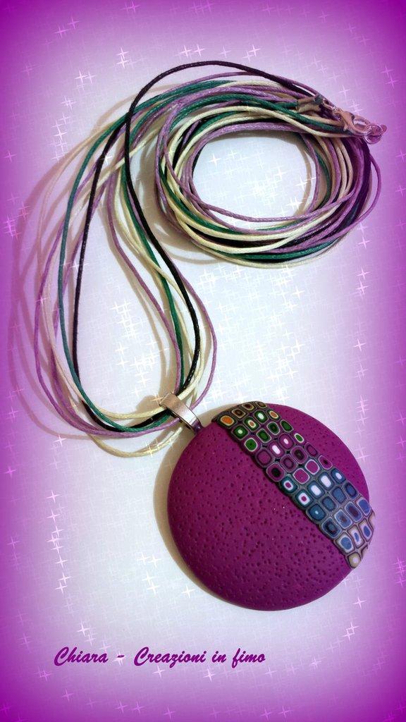 Collana con ciondolo in fimo handmade bordeaux multicolore idee regalo donna idea regalo natale