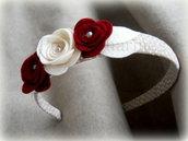 Cerchietto tortora a poi con rose bordeaux e panna glitter