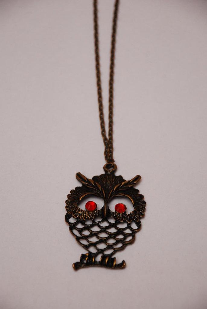 Collana con gufo color bronzo
