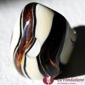 Tigrato - Anello a fascia in vetro di Murano colore Biscotto Fatto a mano