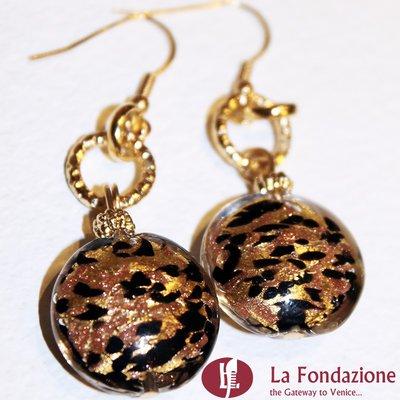 Tigrati - Orecchini in vetro di Murano colore Oro Fatto a mano