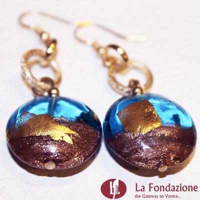 Mezzaluna - Orecchini in vetro di Murano colore Turchese Fatto a mano