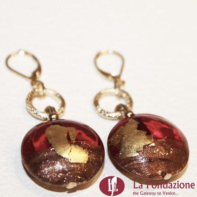 Mezzaluna - Orecchini in vetro di Murano colore Rosso veneziano Fatto a mano