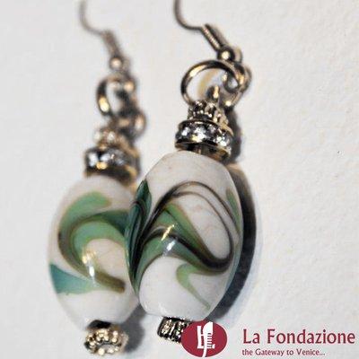 Marmo - Orecchini in vetro di Murano colore Verde oliva Fatto a mano