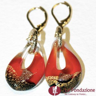 Orecchini Sparkling Gold in vetro di Murano colore Rosso veneziano Fatto a mano