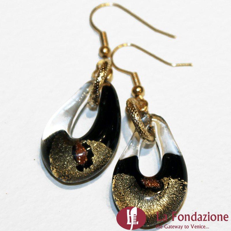 Orecchini Sparkling Gold in vetro di Murano colore Nero Fatto a mano