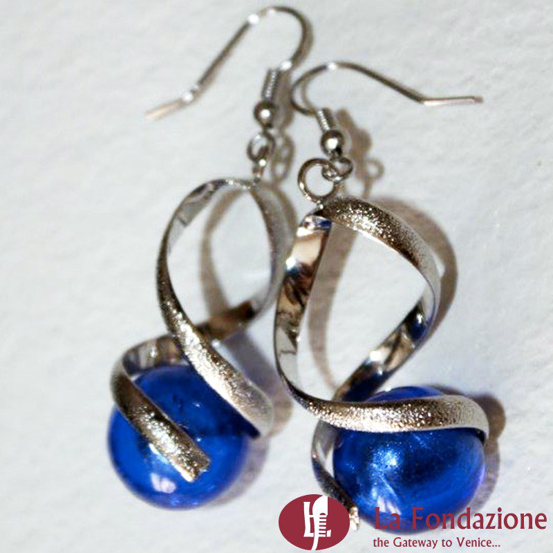 Torciglione - Orecchini in vetro di Murano colore Blu Cobalto Fatto a mano