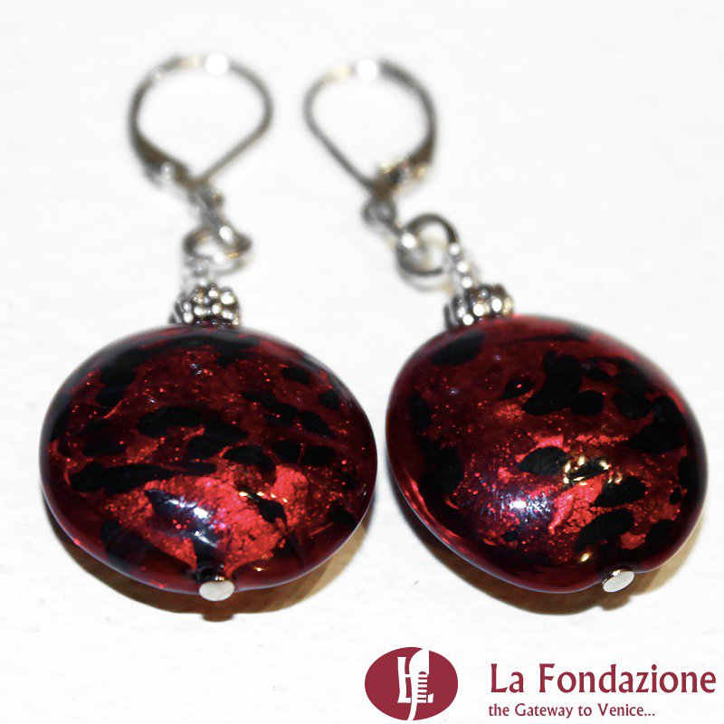 Tigrati - Orecchini in vetro di Murano colore Rosso veneziano Fatto a mano