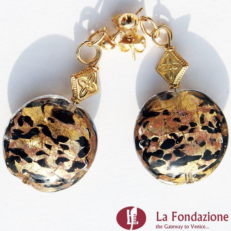Orecchini Tigrati Gold in vetro di Murano colore Oro Fatto a mano