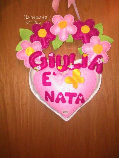 Fiocco nascita Ghirlanda fiori su cuore Handmade KriTiLo