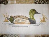 Per tende anatra verde ricamata a punto croce arredamento cucina