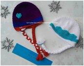 Cappellino ad uncinetto da bambina Elsa e Anna