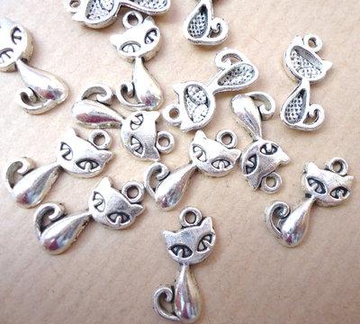 5pz ciondoli GATTINO - silver cm 1,5