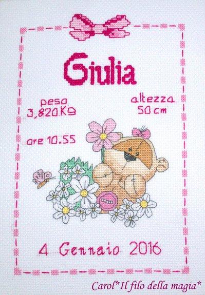 Quadretto nascita - fiocco nascita - FIZZY MOON MARGHERITE BIMBA  -punto croce- B65