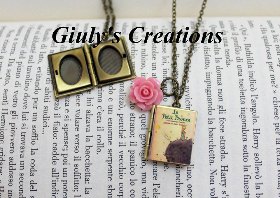 Collana medaglione Il Piccolo Principe porta-foto Le Petit Prince rosa libro