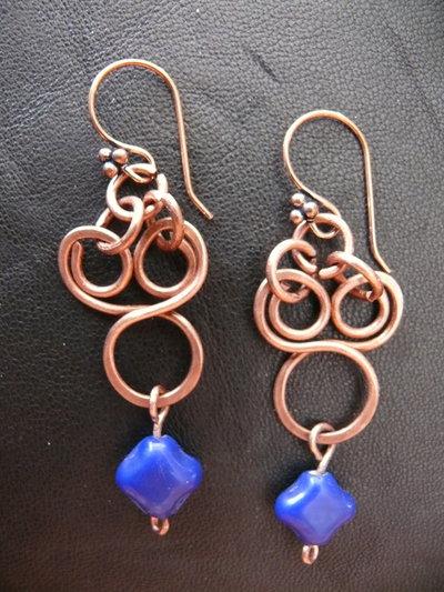 Orecchini in rame con pietra in vetro blu