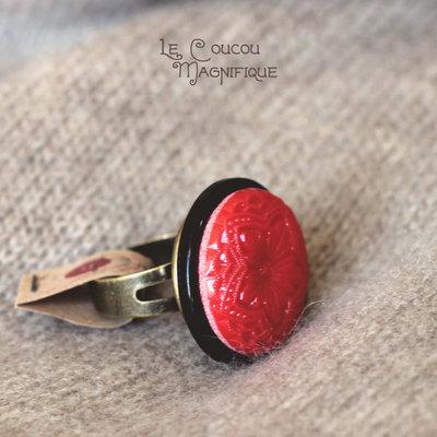 Anello Boho con cabochon vintage rosso - A.4.2016