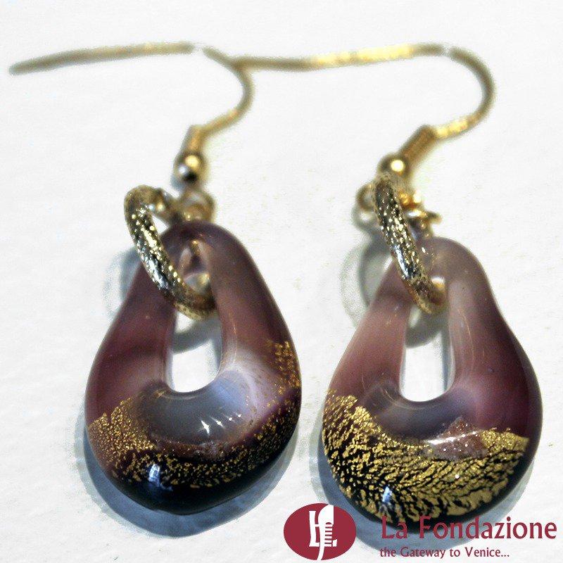 Orecchini Sparkling Gold in vetro di Murano colore Pervinca Fatto a mano