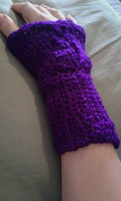 Guanti manicotti in lana viola misura unica senza dita