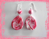 Orecchini astratti (sfumature bianche e rosa)