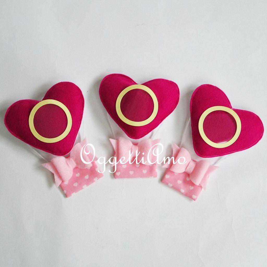 Set di 10 mongolfiere a cuore con cornice e calamita per le bomboniere della vostra bambina