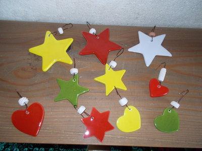 stelle e cuori in ceramica