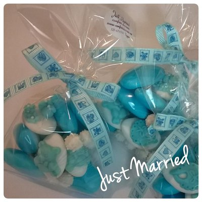 Confettata nascita, battesimo, sacchetti degustazione con confetti decorati, azzurro e rosa