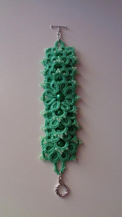 Braccialetto verde chiaro, tenica Ankars
