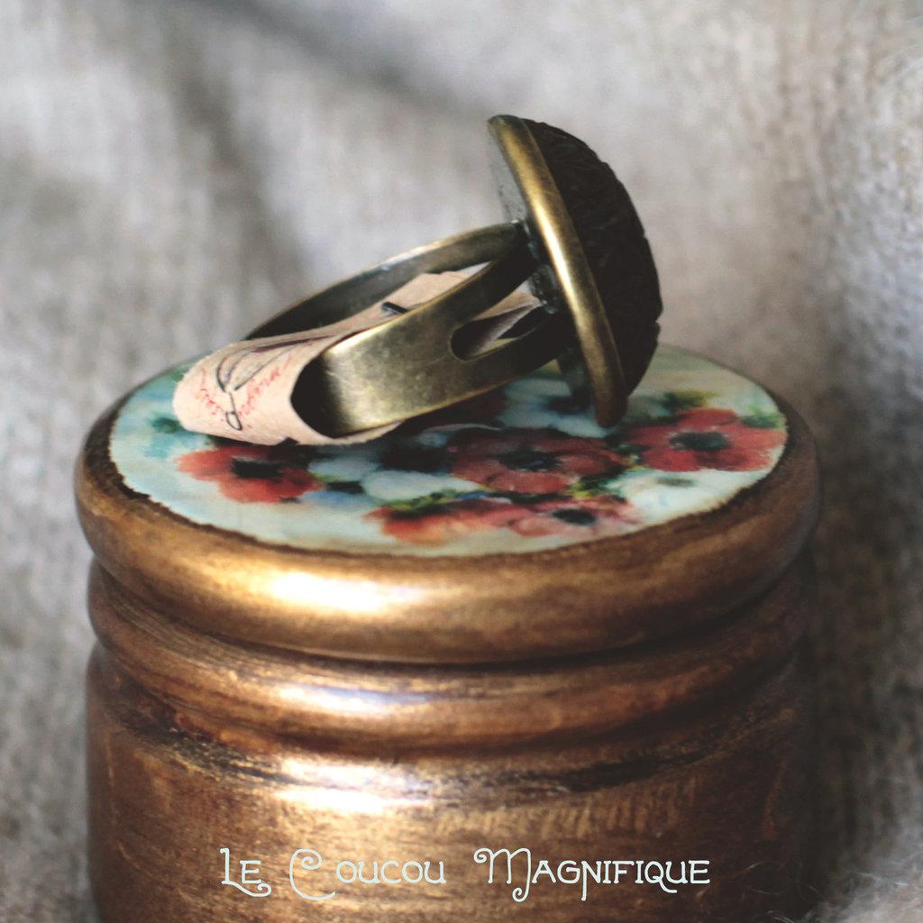 Anello boho con cabochon vintage marrone - A.3.2016