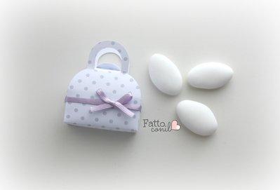 scatolina bomboniera minibag a pois  in perfetto stile fattoconilcuore