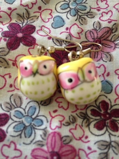 orecchini gufi portafortuna gialli