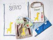 Coordinato scuola ricamato a mano: uno zainetto, un asciugamano, un bavaglio ed un sacchetto portabavagli personalizzati per il tuo bambino!