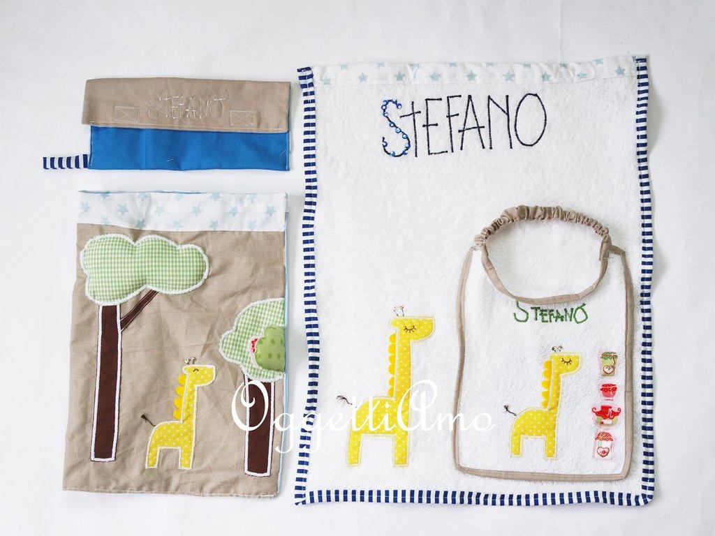 Un originale coordinato scuola: bavagli, asciugamani e sacche scuola personalizzate per il vostro bambino!