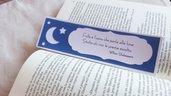 Segnalibro blu e bianco con motivo a forma di luna e stelle