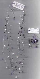 Completo mix pietre dure, cristallini di vetro e perle coltivate.